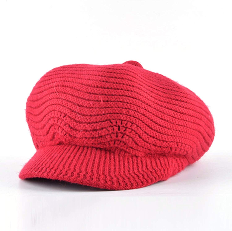Winter Wool Warm Newsboy hat Women Octagonal Girl Knitted Beret caps Vintage Flat Hats chapeu Feminino