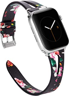 Wearlizer Black Red Floral Leather Bands Compatible with Apple Watch Straps 38mm 40mm for iWatch Womens Special Triangle Hole Wristband Sport Replacement Bracelet (Silver Buckle) Series 5 4 3 2 1