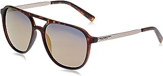 نظارة شمسية للرجال باطار افياتور من نوتيكا مع شعار مطبوع بتقنية ليزرية، بلون تورتويس داكن مطفي