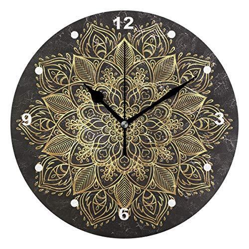 SUNOP Uhr für Kinder, mit Öl Bedruckt, 1 Vintage-Ornamente, runde Mandala-Blumenmuster, Wanduhren für Wohnzimmer, Schlafzimmer und Küche, Vintage Schreibtisch & Regal Uhren
