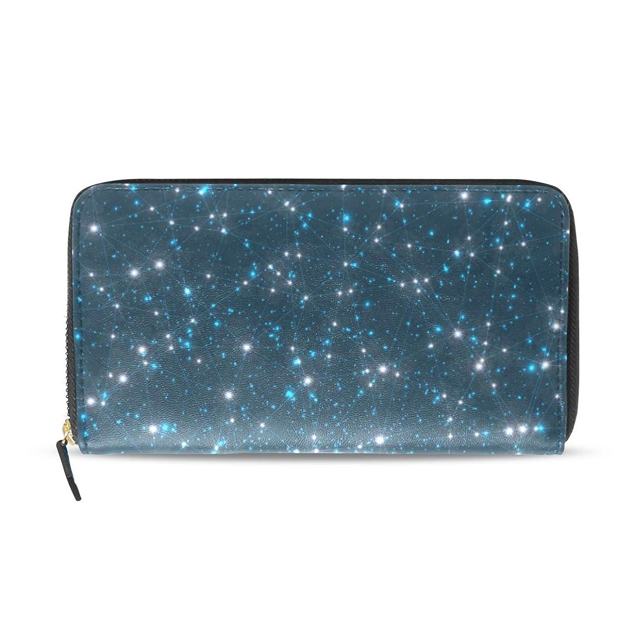 モナリザ気性笑いユサキ(USAKI) 長財布 レディース 星座 星空 星柄 宇宙柄 ブラック 大容量 レザー ラウンドファスナー おしゃれ コインケース プレゼント