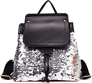 Fashion Mini PU Women Backpacks Casual Lightweight Small Daypack for Girls (Color : Silver, Size : 26 * 10 * 29cm)