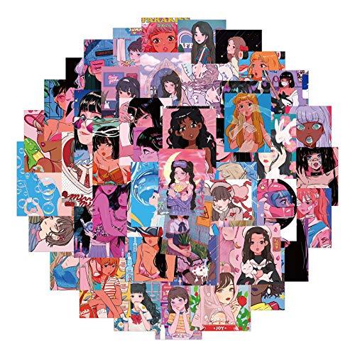 DUOYOU Vintage Pink Comic Girl Ilustración Pegatinas Para Diy Mobile Laptop Maleta Monopatín Coche Calcomanías /50 Unids