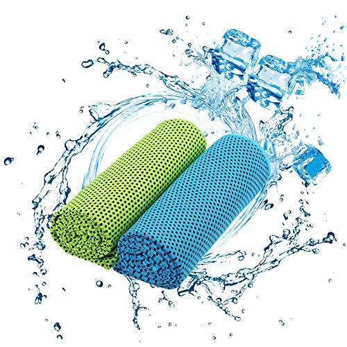 KAKOO Cooling Towel 2pcs Toalla fría Verde Azul Fibra