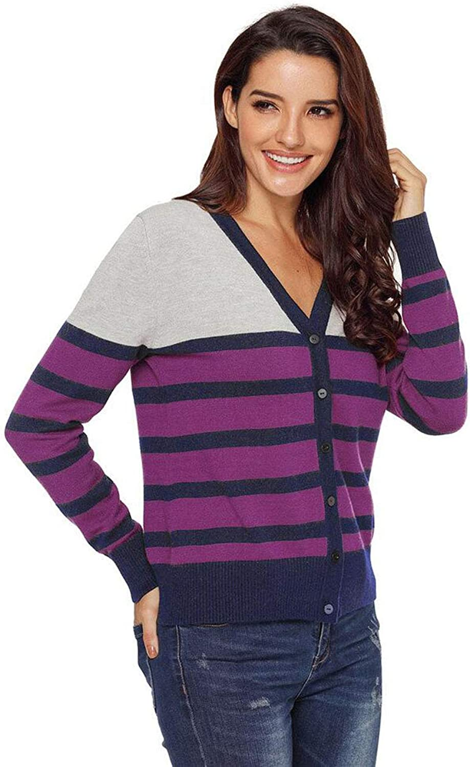 Women's Sweater,Striped VNeck Sweater,SingleRow Button LongSleeved Cardigan Coat Soft and Comfortable Warm (color   Purple, Size   S)