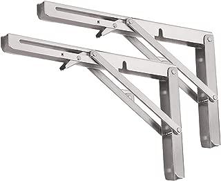 Folding Shelf Brackets - Heavy Duty Stainless Steel Collapsible Shelf Bracket for Bench Table, Space Saving DIY Bracket (10 in, Silver)