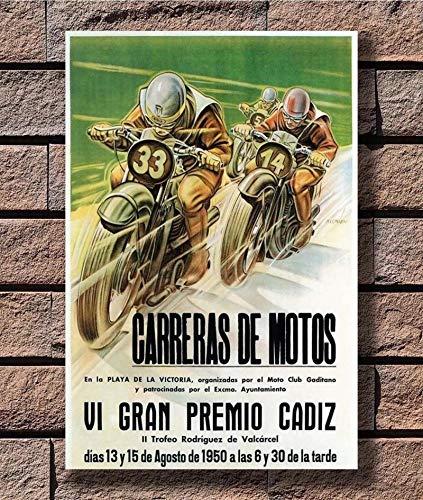 qianyuhe Impresión en Lienzo Cuadros de Arte de Pared Promoción de Carreras de Motos Regalo Caliente Vintage 14xArt Póster Decoración del hogar 60x90cm (24x36 Pulgadas Inch