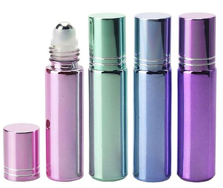 ふつうかび臭いペダルShopXJ 香水 アトマイザー ロールオン 詰め替え容器 パステルカラー 10ml スポイト付き (ブルー)