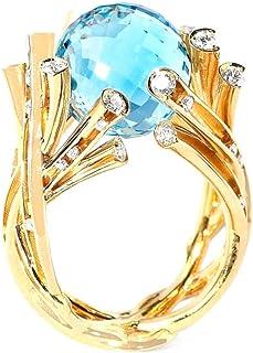 Lusso Blu Cristallo Palla Pietra Cocktail Anello Oro Albero Ramo Di Nozze Fidanzamento Anniversario Partito Anelli Semplic...