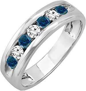 8aa8e864b29f9c Dazzlingrock Collection 0.85 Carat (ctw) 14K Gold Round White & Blue  Diamond Mens Anniversary