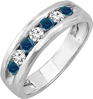 0.85 Carat (ctw) 14K Gold Round White & Blue Diamond Mens Anniversary Wedding Band Ring