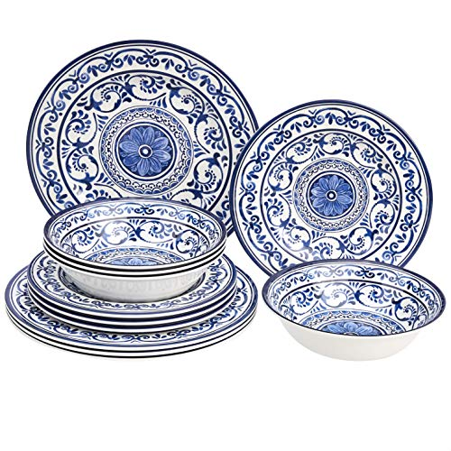 Amazon Basics 12-Piece Melamine Dinnerware Set - Service for 4, Traditional Blue and White