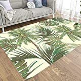 Tooperue Cute Area Rug,Area Rugs for Kids,Palm Trees Tropical Leaves Monstera Leaf Summer Pattern Background Botanical Vintage Palms Area Rugs,Home Decor 3X5 Feet