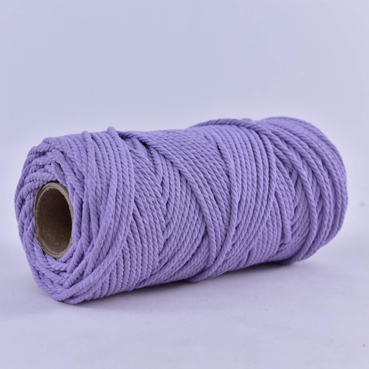 Binwat - Bobina de cuerda de algodón natural para macramé. Para hacer manualidades, colgar cosas en la pared, colgar plantas, tejer, proyectos decorativos, etc. 4 mm, 100 m, Morado claro., 4mm x100m: