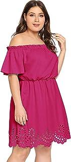 Romwe Women's Plus Size Off The Shoulder Hollowed Out Scallop Hem Party Short Dresses