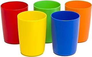 Greenco Set of 5 Unbreakable Reusable Plastic Kids Cups, Assorted Colors, 5 oz.
