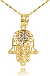 Middle Eastern Jewelry Fine 14k Yellow Gold Diamond-Accented Heart Filigree-Style Hamsa Pendant Necklace