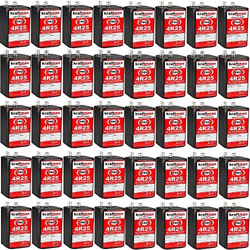 kraftmax 40er Pack 4R25 PRO - 6V Hochleistungs- Industrial Longlife Blockbatterie - 6 Volt Batterie Block - NEUSTE Generation 4R25X