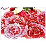 Quadro con perline fai da te 5d un secolo d'amore, bouquet di rose, decorazione per la casa, D, 86X60CM