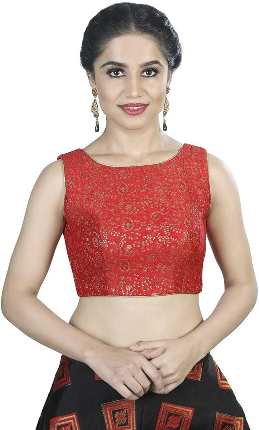 Designer Indian Traditional Brocade Silk Padded Sleeveless Saree Blouse Choli (X488.As) Multiple colors Available