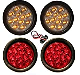 """NEW 2 Red + 2 Clear Lens Amber 4"""" ROUND LED LIGHTS STOP"""