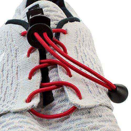Kobert-Goods Elastische Schnürsenkel Rot Flexy Lock Lace Schnell-Verschluss System für Jugendliche Erwachsene ohne Binden Perfekter Sitz und Halt für jeden Schuh geeignet