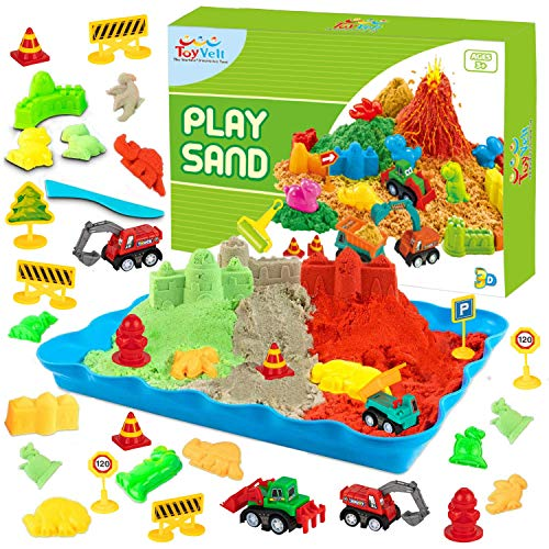 Toyvelt2021 Play Sand Kit Dinosaur Toys and Dinosaur Figures Set  Incl Dinosaur Molds 3 Colors Bags of Play Sand Sand Trucks and Accessories  Best Gift for Boys and Girls Age 3 12 Years Old