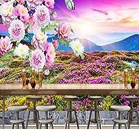 Wkxzz 壁の背景装飾画 3 D屋外山夕日風景牡丹イラスト背景壁画リビングルームレストランカフェ壁紙-400X280Cm