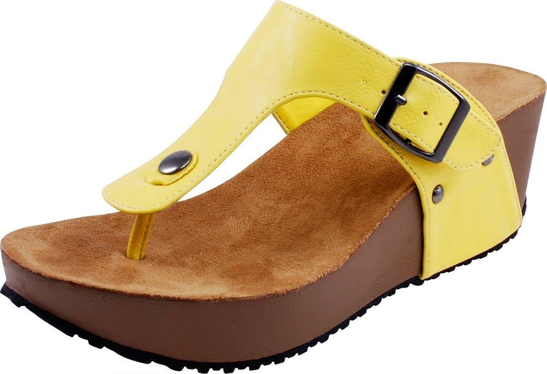 Cambridge Select Women's Thong Slip-On Platform Wedge Slide Sandal