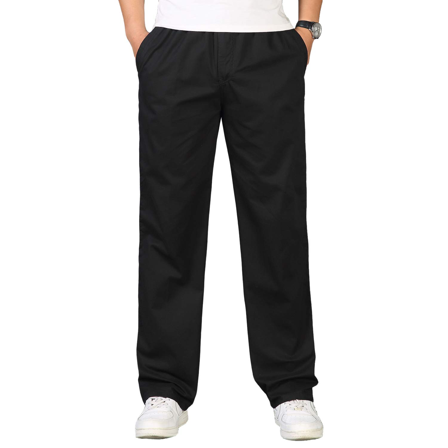 Mens Smart Casual Rugby Trousers Chino Cotton Trousers Pants with Elasticated Waist Drawstrings Loose Fit