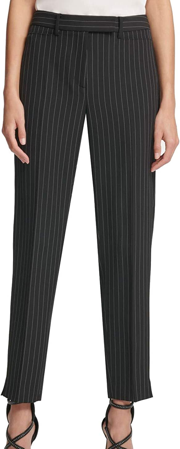 DKNY Womens Black Striped Straight Leg Pants Size 8