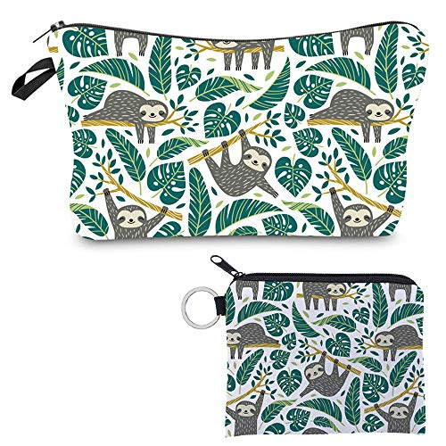 Cosmetic Bag for Women Sloth Gifts Adorable Roomy Makeup Bags Travel Water-Resistant Earphone Key Coin Glasses Toiletry Bag Accessories Organizer,Set of 2
