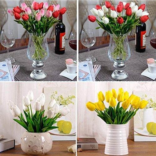 Igemy Tulpe-künstlicher Blumen Latex reale Noten Brauthochzeits Blumenstrauß Ausgangsdekor, 10pcs (Yellow) - 2