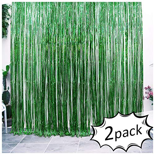 Iridescent Foil Fringe Curtains Rainforest Jungle Theme Party Supplies Birthday Wedding Party Window Door Decorations Fun Photo Booth Backdrop Props(2 packs, (W)3.28*(H)6.56 Ft, Green)