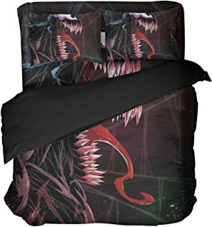 Venom Pattern Bedding Sheet American Super Hero Movie Set Comforter Bed Sets Twin 4PCS (Red, Twin 4pcs)