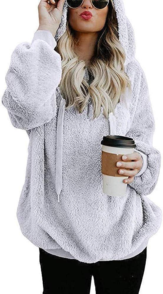 Women Hoodies with Zipper Plus Size Winter Warm Wool Pockets Sweatshirts Pullover Tops Coat Outwear