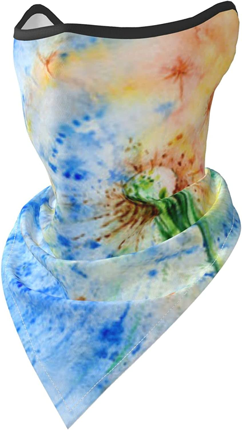 Dandelion Cosmic Flower Watercolor Paintings Breathable Bandana Face Mask Neck Gaiter Windproof Sports Mask Scarf Headwear for Men Women Outdoor Hiking Cycling Running Motorcycling