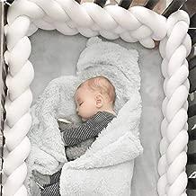 Baby Crib Bumper Chunky Knit Braided Baby Bedding Sheets Plush Nursery Cradle Decor Newborn Gift Pillow Cushion Junior Bed Sleep Bumper (4 Strands,Widening)White 99 inch