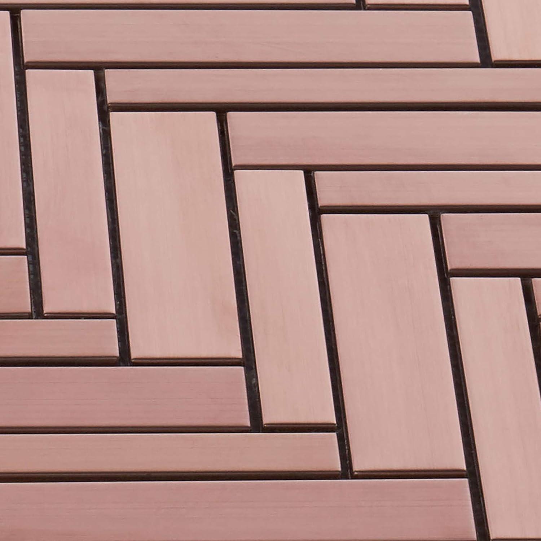 Modket TDH412RG-5 Rose Gold Copper Color Metallic Metal Herringbone /— 5 Pack Modern Mosaic Tile Backsplash Kitchen Bath Bathroom Shower Interior Wall