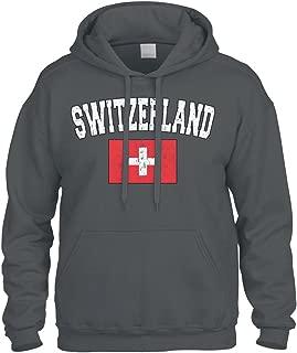 Faded Distressed Switzerland Flag Sweatshirt Hoodie Hoody