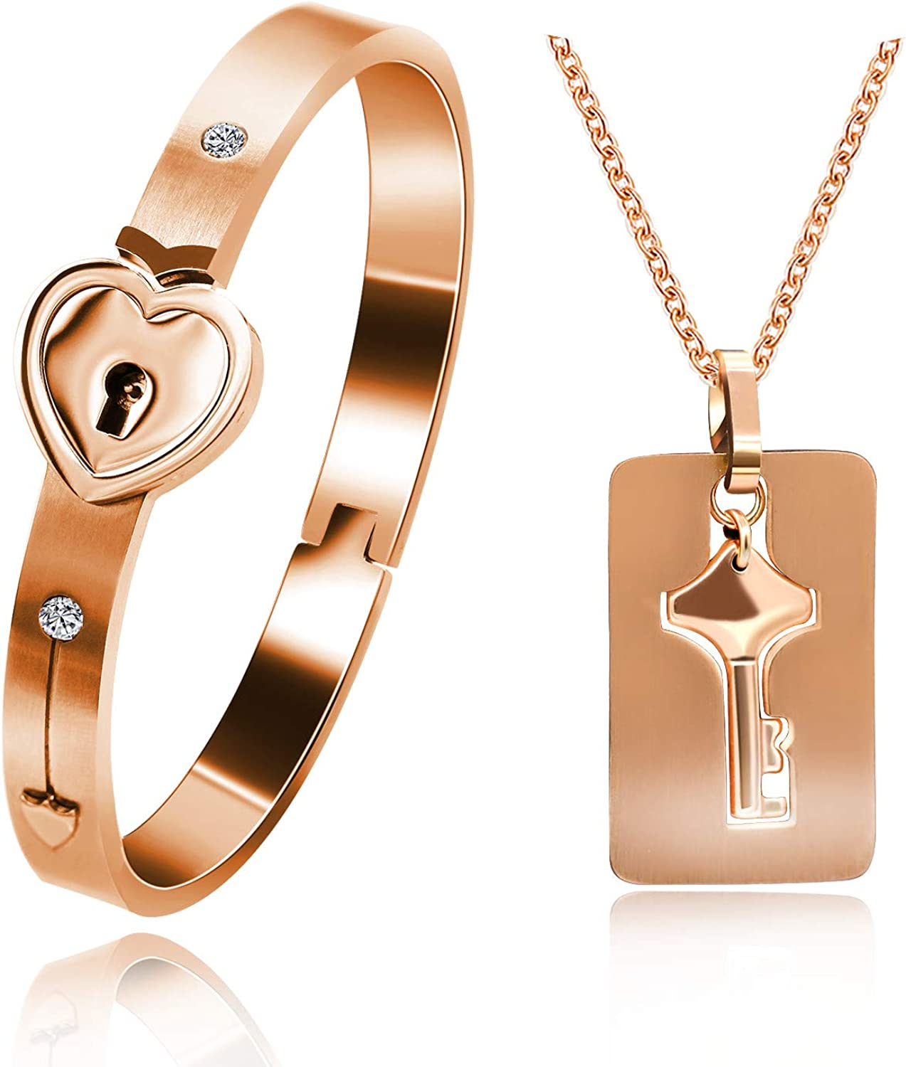Uloveido Rose Gold Plated Titanium Matching Puzzle Couple Heart Lock Bracelet and Key Pendant Necklace for Men and Women