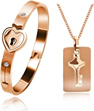 Uloveido Rose Gold Plated Titanium Matching Puzzle Couple Heart Lock Bracelet and Key Pendant Necklace for Men and Women, Matching Bracelet Necklace for Girlfriend Boyfriend SN300