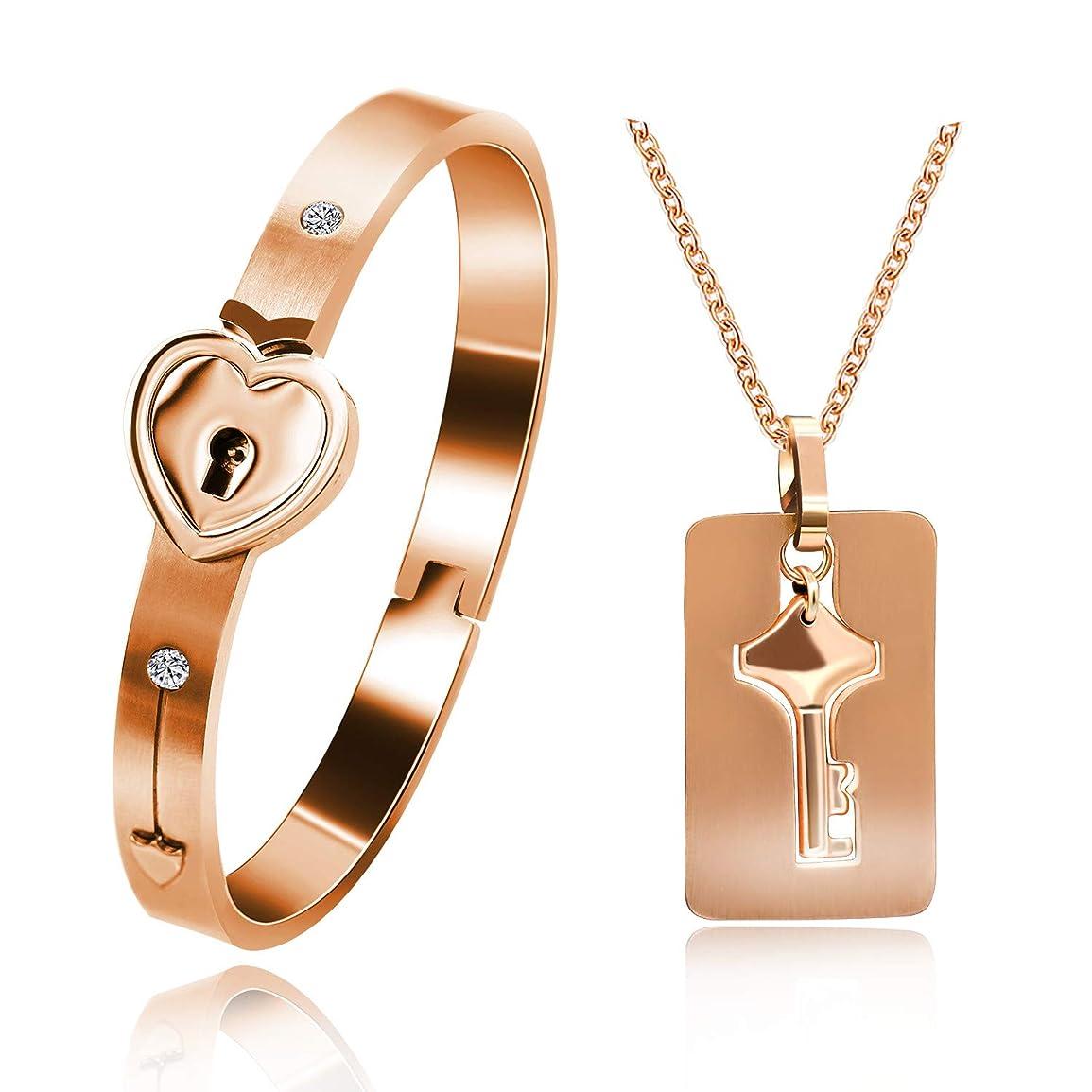 慈善男性リクルートUloveidoガールフレンドのボーイフレンド、ローズゴールドメッキチタンパズルカップルハートブレスレット、男性と女性のためのキーペンダントネックレス用のネックレスと一致するブレスレット