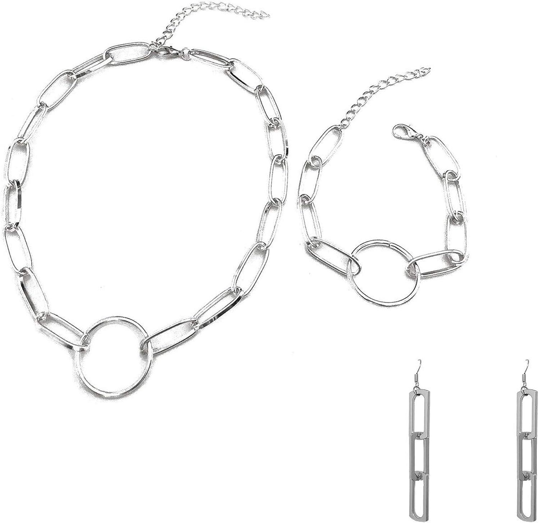 3 Pcs/Set Paperclip Chain Necklace Chain Link Paperclip Bracelet Paperclip Dangle Earrings Set Dainty Chunky Chain Link Paperclip Jewelry Set for Women Girl