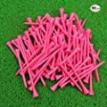 MYKUJA Bamboo Golf Tee 3-1/4 inch Pack of 100 Pink