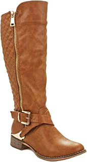 Cindy Cognac Fur Lined Gold Decorative Zipper Buckle Strap Quilted Riding Knee High Boots