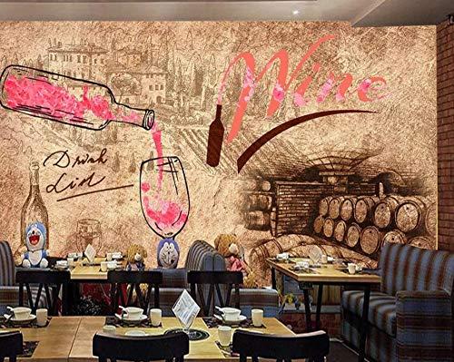 Vliestapete 3D Groß Benutzerdefinierte Wallpaper Wandbild Vintage Retro Lounge Weinkeller Bar Café Hotel Wallpaper Tv Hintergrund @ 250 * 175