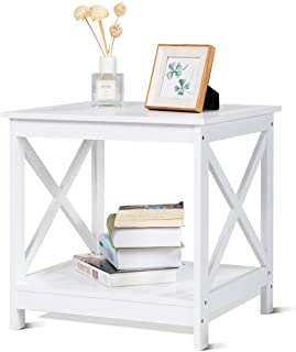 Giantex End Table Nightstand Sofa Side Table X-Shaped Frame Accent Furniture Display Shelves for Living Room Bedroom (1, White)