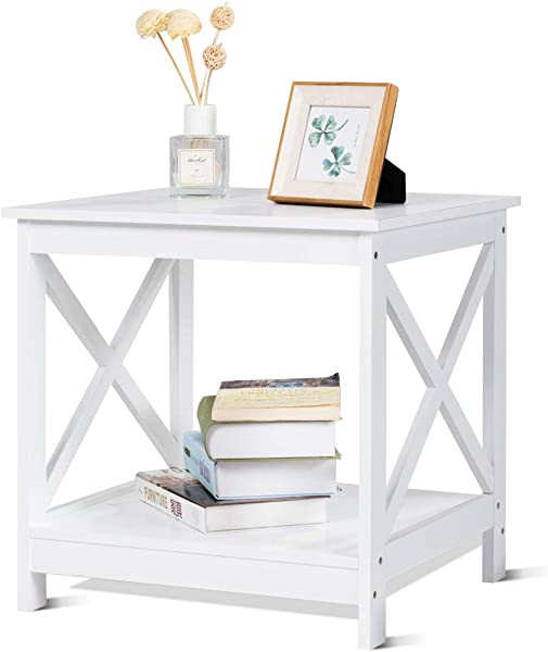 Giantex End Table Nightstand Sofa Side Table X Shaped Frame Accent Furniture Display Shelves For Living Room Bedroom 1 White