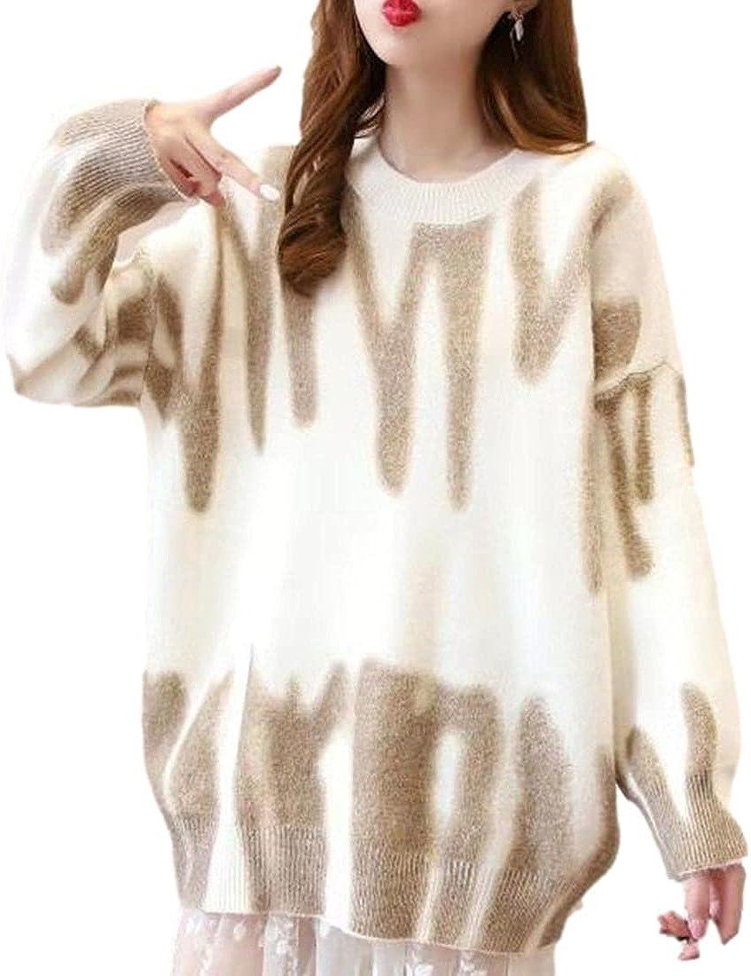 FindThy Women's Loose Tie Dye Pullover Sweater Oversized Crewneck Y2K Knit Jumper Tops